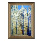 莫奈油画《正午阳光下的鲁昂大教堂》装饰画挂画 典雅栗 63×89cm