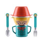 蔓葆(mambobaby)儿童餐具套装 不锈钢宝宝餐具带手柄防摔防漏水杯子婴儿碗叉勺水杯组合装 卡通小麦新生儿 49.5元
