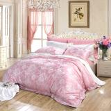富安娜家纺 床上用品四件套欧式提花床品套件床单被套 高档单双人 东京爱情故事 1米8/1米5床粉色 349.5元