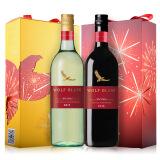京东海外直采 澳大利亚进口 纷赋(WolfBlass)红牌 赛美容长相思+设拉子歌海娜葡萄酒礼盒装 750ml*2瓶 59元