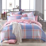 多喜爱(Dohia)床品套件 全棉条格简约双人加大四件套 床单款 英伦时光 1.5米床 203*229cm 199元