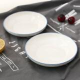 佳佰 天空蓝手绘陶瓷汤盘 釉下彩 2个装 *15件 217.6元(合 14.51元/件)