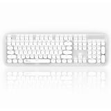 RK(ROYALKLUDGE)圆点机械键盘有线/蓝牙键盘办公键盘104键复古圆键帽双模多设备连接白光键盘银色茶轴自营 139.3元