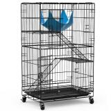 英伦印象 猫笼子三层 豪华多层别墅宠物笼子猫窝 便携手提折叠加粗加密铁丝笼CAT-610黑色(舒适型) 144元