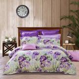 富安娜家纺 床上用品四件套纯棉全棉床品套件床单被套 印花单双人 春日遐想 1米8/1米5床紫色 274.5元