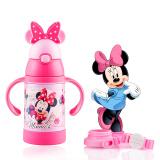 迪士尼(Disney)宝宝吸管杯学饮杯 儿童保温杯 婴儿水杯带手柄背带水壶 WD89粉色米妮280ml 47.5元