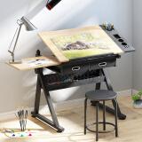 佰泽 可升降绘图绘画桌 多功能电脑桌书桌写字桌学习桌 含一桌一凳HA-001A 379.5元