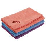 3M 清洁擦拭布 吸水毛巾 擦车布 混色 三条装 40cm*40cm(颜色随机) *8件 100元(合 12.5元/件)