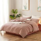 LOVO家纺四件套 水洗棉床单被套纯棉裸睡床品套件 品格调 红色 1.8米床 348元