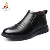 稻草人 MEXICAN 高帮商务休闲皮鞋男士正装保暖加绒套脚靴子英伦百搭 AZ1818 黑色 42 151元