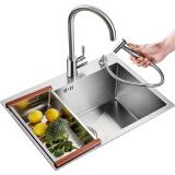 卡贝(cobbe)厨房手工水槽单槽304不锈钢洗菜盆洗菜池洗碗池套装 557元