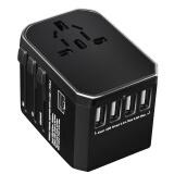 豪莱菲乐USB出国转换插头Type_c接口电源转换器多功能插座日本中国香港泰国韩国欧洲德标英标美标 4USB+Type_c接口 黑色 84.00