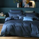 水星家纺 床上四件套纯棉 60S长绒棉贡缎床单被罩被套 醉出色(蓝色) 加大双人1.8米床 449元