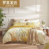 LUOLAI罗莱家纺 纯棉四件套 全棉床品套件床上用品床单被套 金秋WA5023-4 黄 220*250 429元