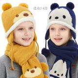 迪士尼儿童帽子围巾两件套装冬保暖加绒男童女童针织套头宝宝毛线 STT72001黄色 均码/适合2-6岁 32.5元