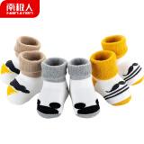 南极人(Nanjiren) 新生婴儿袜子宝宝学步鞋儿童加厚秋冬棉袜涂鸦漫画毛圈袜家居地板袜 0-1岁 XXS *2件 36元(合 18元/件)