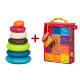 B.Toys 比乐 捏捏乐数字浮雕软积木玩具+水漂石堆环 *2件 188元包邮(需用券,合94元/件)