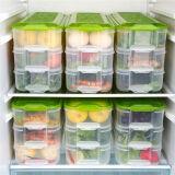 HAIXIN 冰箱塑料保鲜盒加长型三合一食品储物收纳盒 绿色 3盒身1盖子 25.8元
