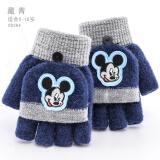 迪士尼 Disney 儿童手套冬保暖五指男童女童可爱小孩加厚半指针织毛线宝宝 D00264G藏青 适合5-10岁 13元