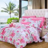 富安娜家纺 床上用品四件套纯棉全棉床品套件床单被套 印花单双人 时光正好 1米5/1米8床粉色 *2件 478元(合239元/件)