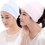 乐孕月子帽防头风产妇月子帽 四季款 粉蓝两条装 39元