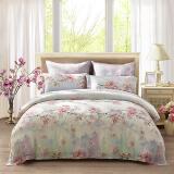 LUOLAI罗莱家纺 213纱支天丝四件套 莱赛尔床品套件床上用品床单被套 TS6973等你在樱花烂漫 220*250紫 699元