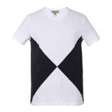 BURBERRY 巴宝莉 男士白色配黑蓝色棉质圆领短袖T恤 40430971 L码 841.5元
