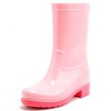 御乐 雨鞋中筒时尚防水雨靴胶鞋水鞋 DDP001 粉色 38 89元