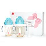 gb好孩子 宽口径PPSU奶瓶礼盒-粉蓝(小饿魔系列) 宝宝婴儿配奶嘴 带手柄带吸管 116元