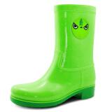御乐 雨鞋中筒时尚萌宠防水雨靴胶鞋水鞋套鞋 DDP003 绿色 39 89元