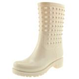 御乐 雨鞋中筒时尚铆钉防水雨靴胶鞋水鞋 DDP002 杏色 40 99元