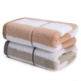 亚光 毛巾 纯棉色织吸水毛巾 全棉柔软擦脸巾 洁面巾 自由维度 2条装 灰/棕 32*72cm/条 15.5元